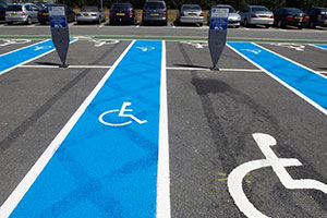 Disabled parking bays that can only be used if you have blue badges