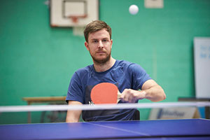 Table tennis player at Inter Spinal Unit Games